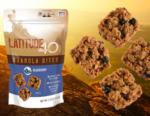 Latitude 40 Snacks Blueberry granola bites bag with 4 bites and a mountain background