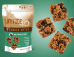 Mint Chocolate granola bites bag with 4 bites to the right and a teal background